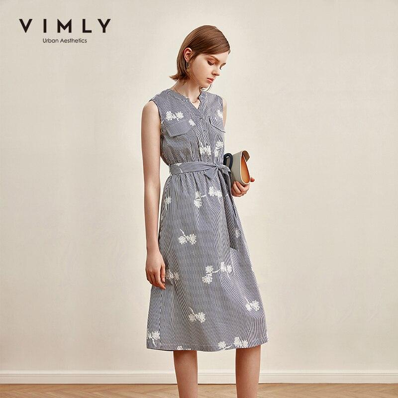 Vimly 2020 Summer Women Stripe Dresses Office Lady Elegant Sleeveless Loose Belt Vintage Female Aline Dress Vestidos F1595