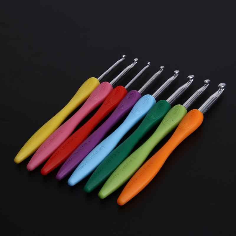 DIY 8 stuks Zachte Handvat Kleurrijke Aluminium Haaknaalden Breien Needls Set Weven Naaien Kleurrijke Draagbare Handgereedschap