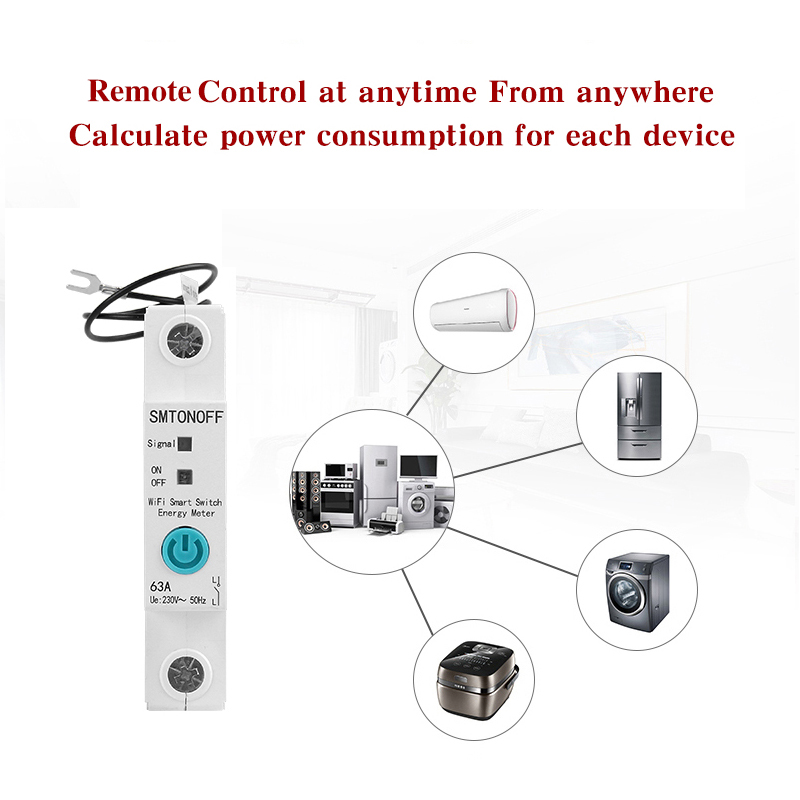 1P eWelink Single phase Din rail WIFI Smart Energy Meter Power Consumption kWh Meter wattmeter with Alexa  google for Smart home 3
