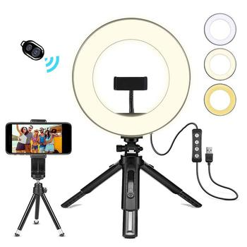 LED Ring Light USB Small Portable Lamp With Tripod Stand For Desktop Selfie Live Broadcast - discount item  25% OFF Camera & Photo