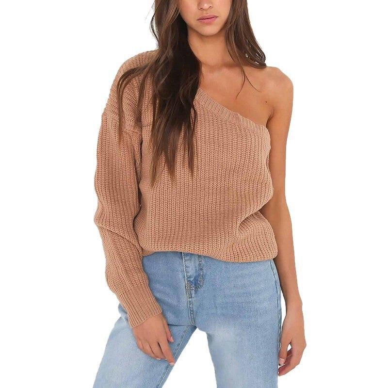 URIFENS Irregular Neck One Shoulder Off Sexy Sweater 2021 Autumn Winter Solid Knit Women Pullover Streetwear New Jumper LMM203U