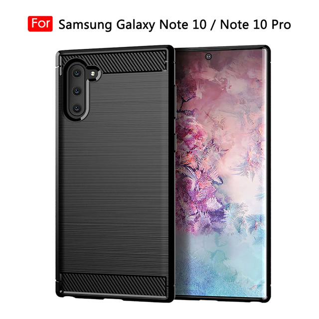 Silicone Phone Case For Samsung Galaxy Note 10 Pro Soft Carbon Fiber Back Cover Bumper galaxi Note10 Plus 10Pro Note10Pro 10Plus