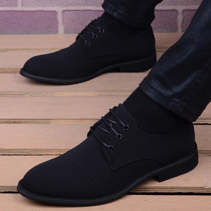 Men Shoes Fashion Korea Pointed Toe Business Dress Shoes Breathable Lace-Up Men Casual Shoes Black Wedding Shoes Zapatos Hombre