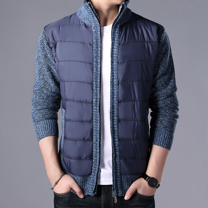 2019 New Autumn Winter Men's Thick Sweater Coat Male Parkas Patchwork Sweatercoat Zipper Cardigans Sweater Man Jacket