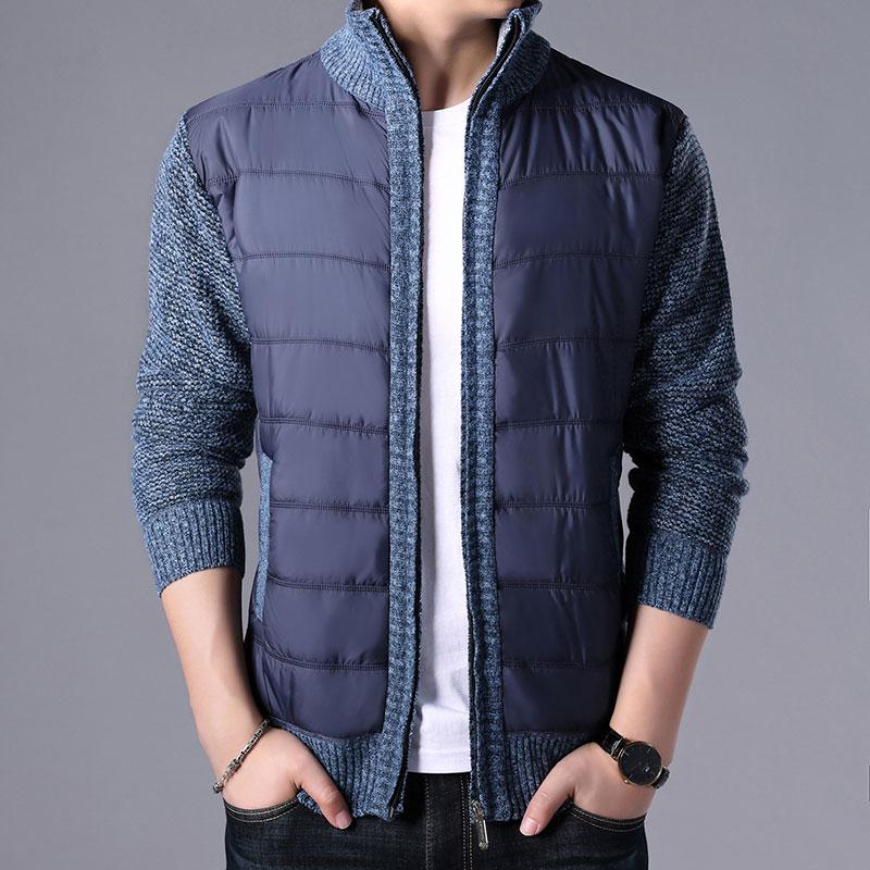 2019 New Autumn Winter Men's Thick Sweater Coat Male Parkas Patchwork Sweatercoat Zipper Cardigans Sweater Man Jacket