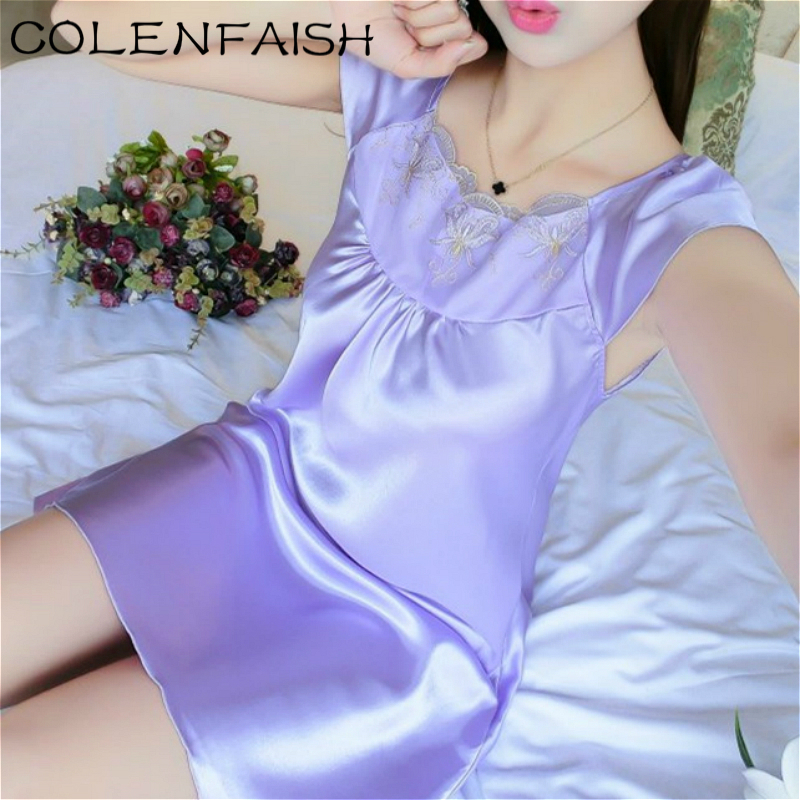 Lace Patchwork Ice Silk Satin Night Dress Smooth Nightwear Sexy Women Sleepwear Summer Sleeveless Nightgown Vestidos