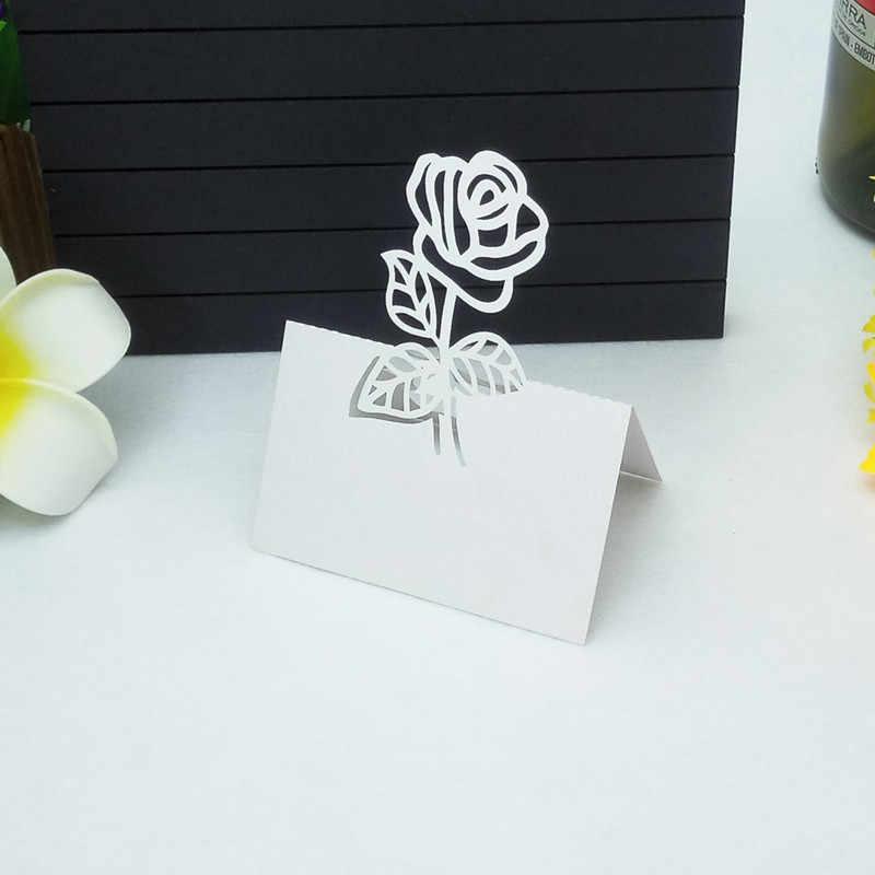 98Pcs Nome Dos Convidados Lugar Favor Decoração Da Tabela Do Casamento Cartão de Convite de Corte A Laser Cartões da Mesa Cartão Assento cartão de nome Do Partido 5