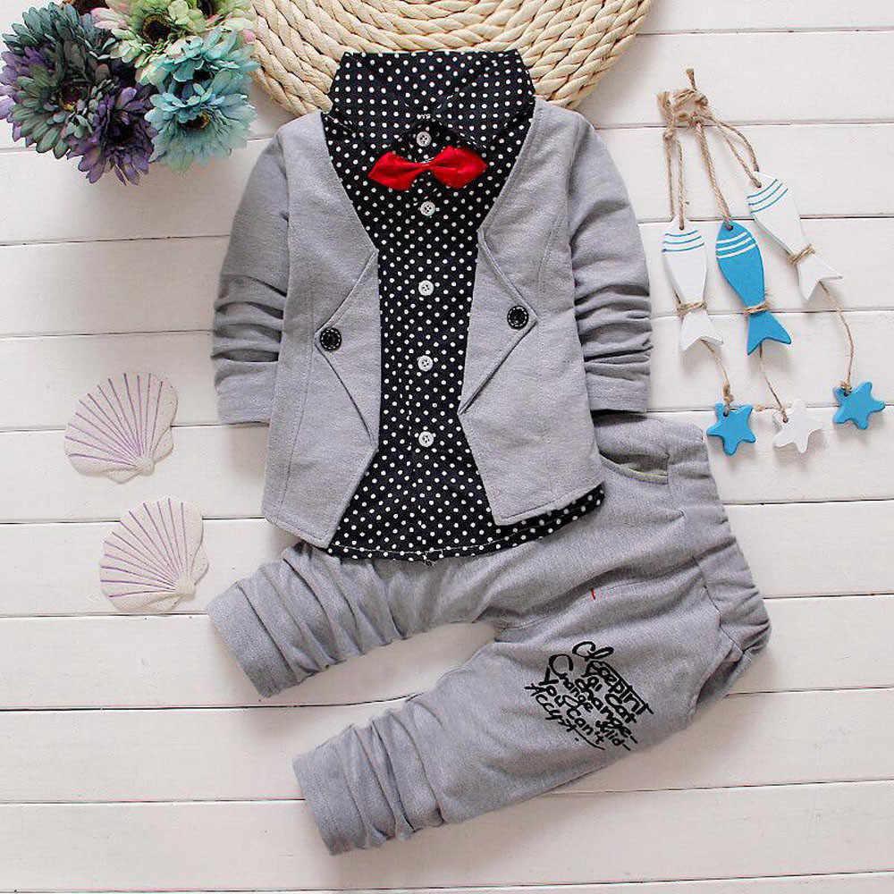 SAGACE ילדי של אדון קטן חליפת עניבת פרפר מזויף תלבושות מעיל + מכנסיים 2 חלקים חליפת שני חלקים 3-7Years אימונית בגדים