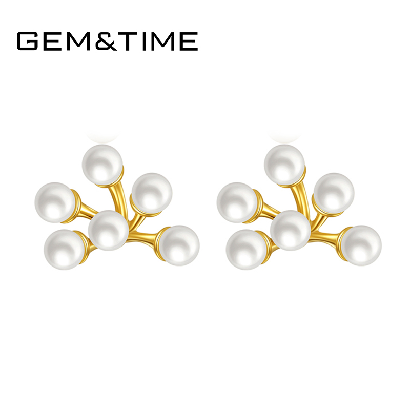 Gem&Time 925 Sterling Silver With Freashwater Paerls Stud Earrings For Women 18k Gold Plated Stamen Earrings Brincos Jewelry(China)