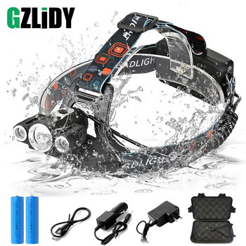 Super Bright LED Headlamp 3 X T6 Led Lamp Bead Waterproof Led Headlight 4 Lighting Modes Camping Lamp Use 18650 Battery t25 zooming led long shooting headlight t6 bead 3 leds 4 modes lantern camping headlamp for hiking fishing