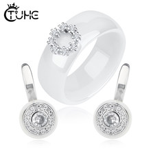 New Jewerly Sets Wedding Jewelry Circle Jewelry Women Ceramic Rings Stud Earrings Australia Jewelry for Women(China)