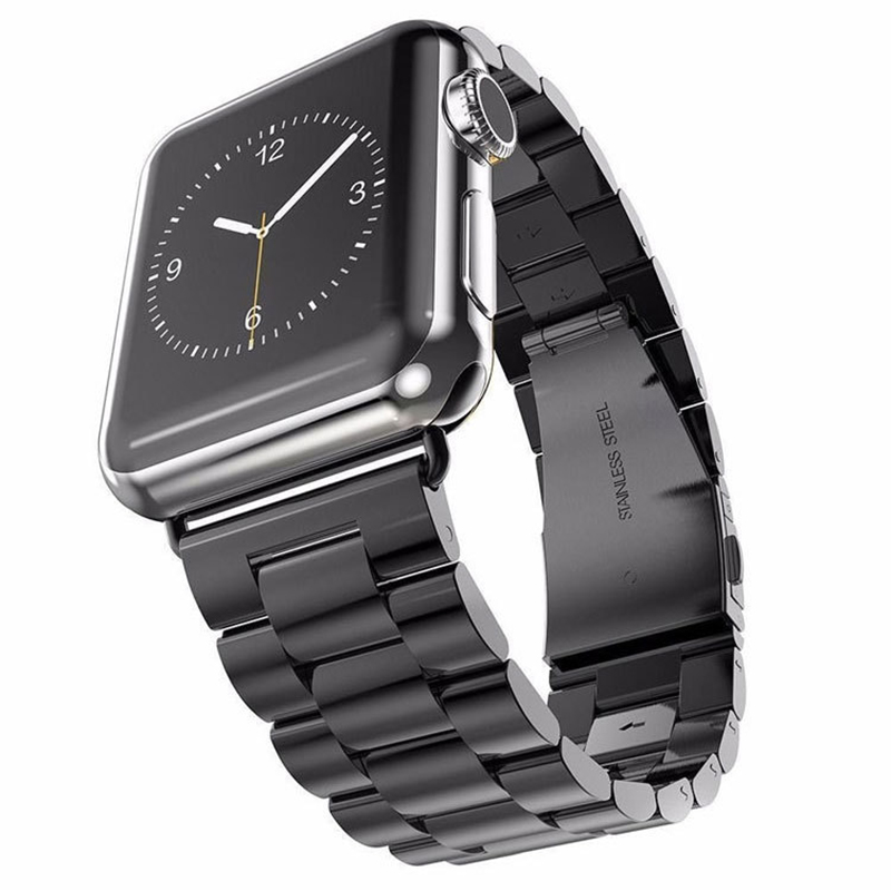 Strap For Apple <font><b>Watch</b></font> Series 5 4 3 2 <font><b>Band</b></font> 42mm 40mm 44mm Black Stainless Steel Men Women Bracelet for iWatch <font><b>Band</b></font> 4 3 38mm <font><b>Bands</b></font> image
