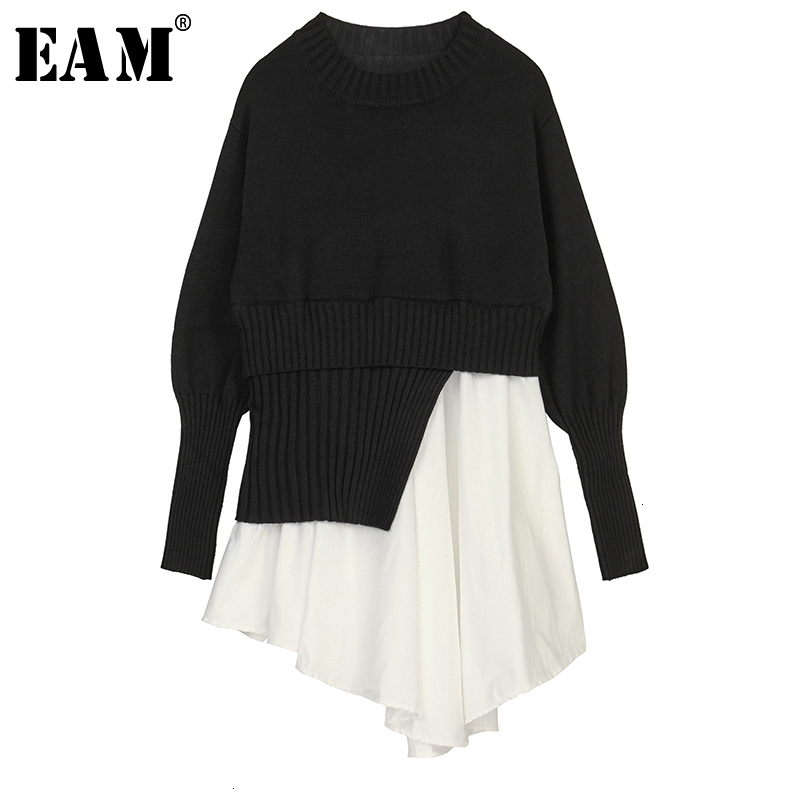 [EAM] Black Pleated Asymmetrical Knitting Sweater Loose Fit Round Neck Long Sleeve Women New Fashion Spring Autumn 2020 1K596