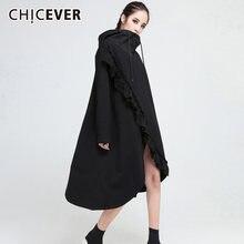 Chicever лоскутное платье с оборками для женщин капюшоном и