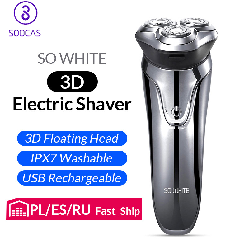 Soocas SO WHITE Electric Shaver Razor Men Washable USB Rechargeable 3D Floating Smart Control Shaving Beard Cleaner