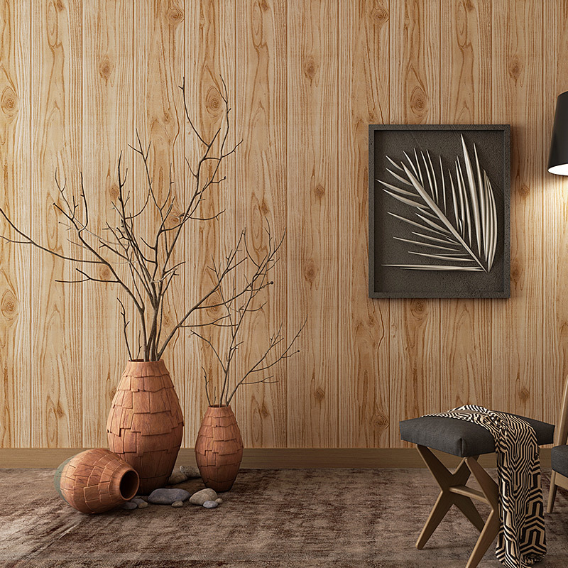 Chinese Style Retro Nostalgic Wallpaper Vintage Wood Grain Board Cool Bar Tea House Clothing Store Stripes Wall Wallpaper