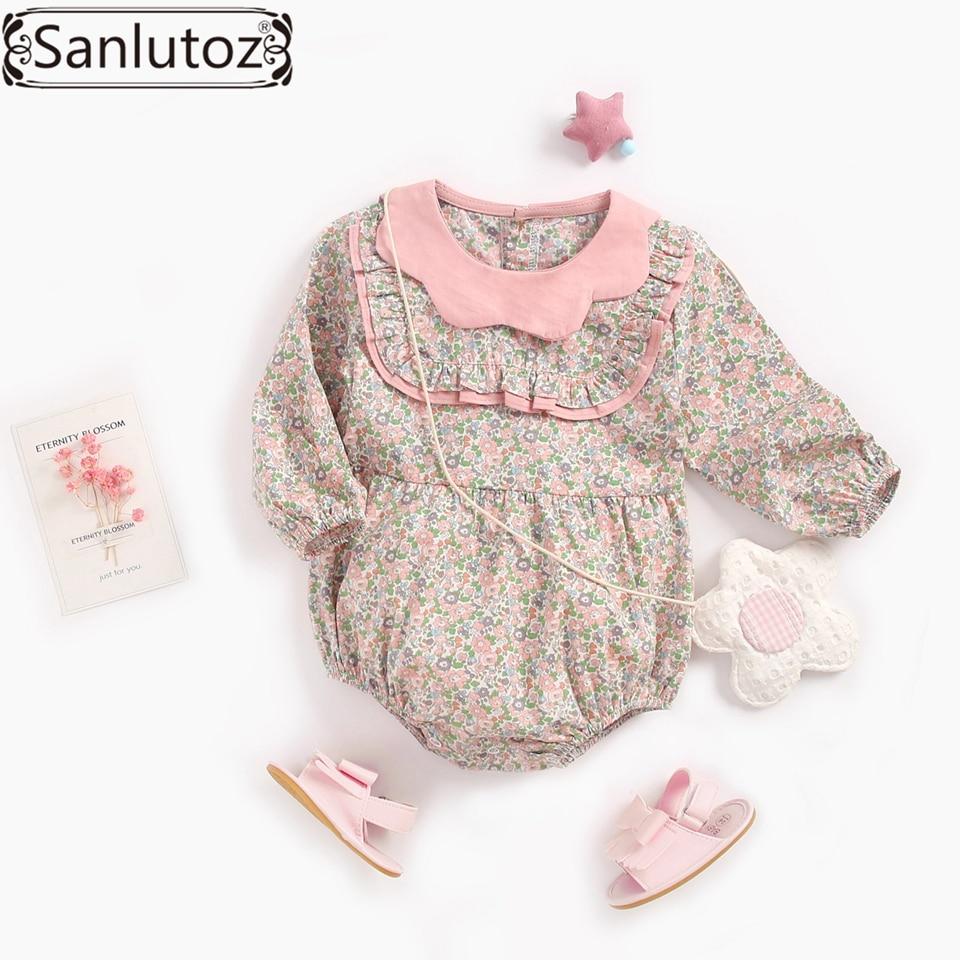 Sanlutoz Baby Girls Floral Sleeveless Rompers Flower Print Cotton Newborn Girls Bodysuit