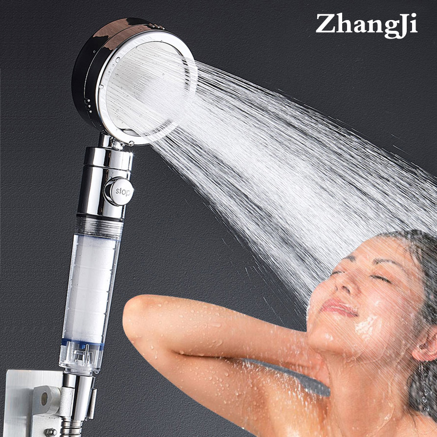 ZhangJi 3-Function Filter Element Shower Head Stop Button Multifunction Sprayer Electroplated Water Saving Bathroom Accessory