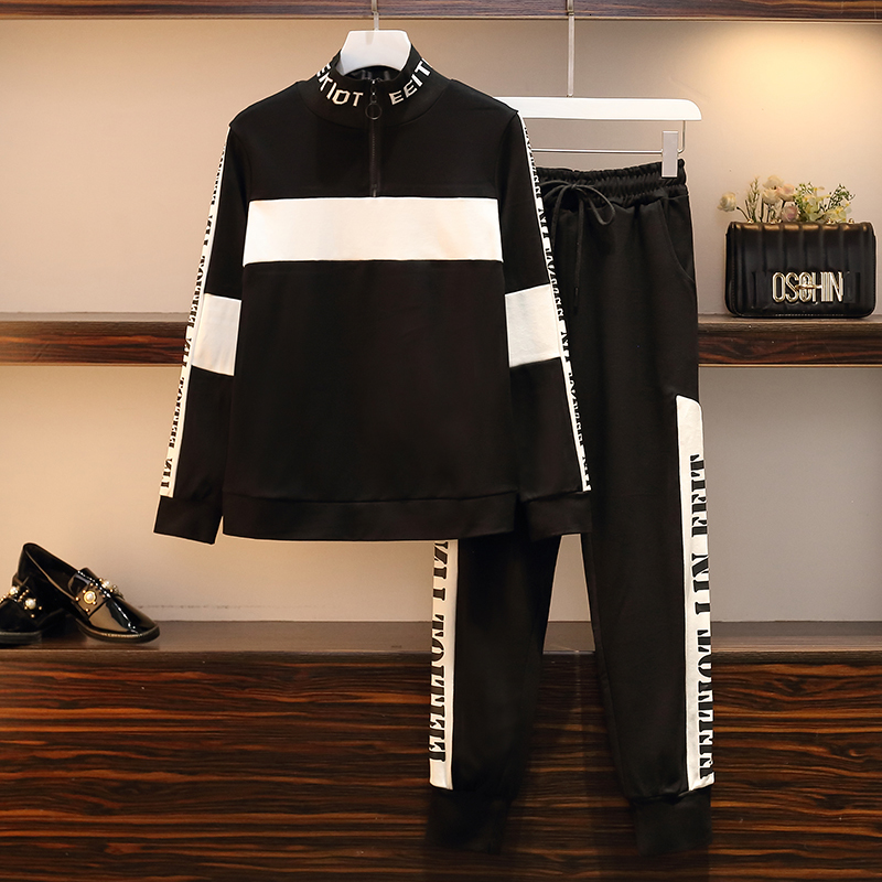 Tracksuit For Women Outfits 2 Piece Outfits Striped Letter Top Pants Suit Plus Size Warm Matching Sets Winter Autumn Clothing - 2