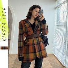 Winter Women Woolen Plaid Blazer Retro Vintage Brown Color Checked Slim With Belt Ladies Tw