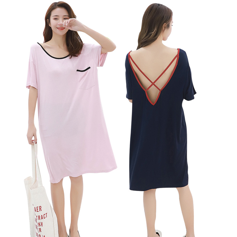 Nightgown Women's Summer 2019 New Products Short Sleeve Backless Sexy Loose Sundress-Outer Wear Modal Pajamas Tracksuit