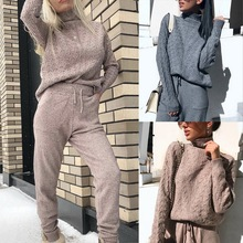 Women Autumn Winter Knitted Tracksuit Pants Sets Turtleneck Sweaters+Drawstring Trousers Solid Warm Ladies Clothes New