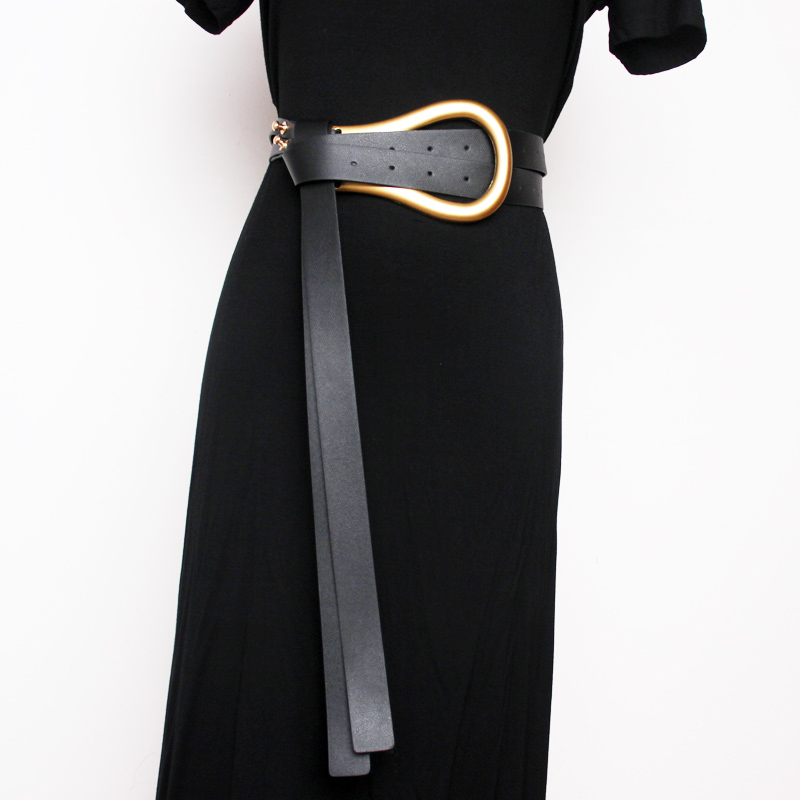 Women Double Belt Metal Arc Large And Small Horseshoe Buckle Super Leather Belt Match With Skirt Waist Seal High Waist Belt