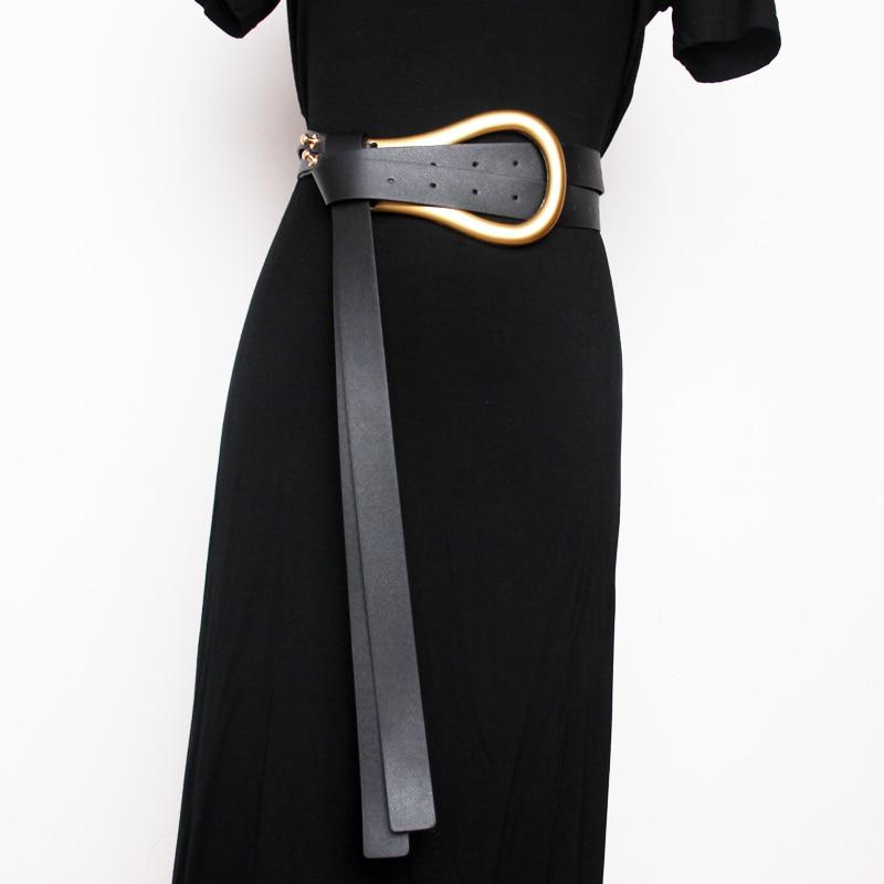 Women Double Belt Metal Arc Large And Small Horseshoe Buckle Super Leather Belt Match With Skirt Waist Seal High Waist Belt
