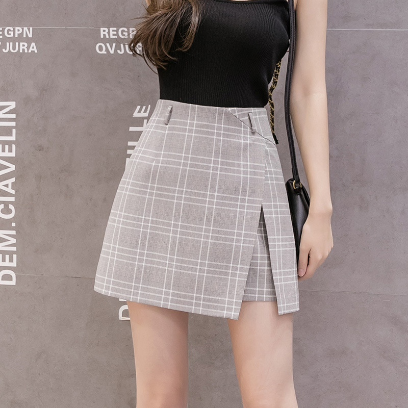 Irregular Split Plaid A-line Skirt Female Summer High Waist New Korean Skirts Women Office Chiffon Mini Skirt Women