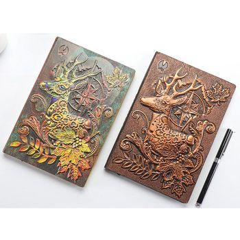 цена Creative Deer Embossed A5 Leather Notebook Journal Notepad Travel Diary Planner Book School Office Supplies онлайн в 2017 году