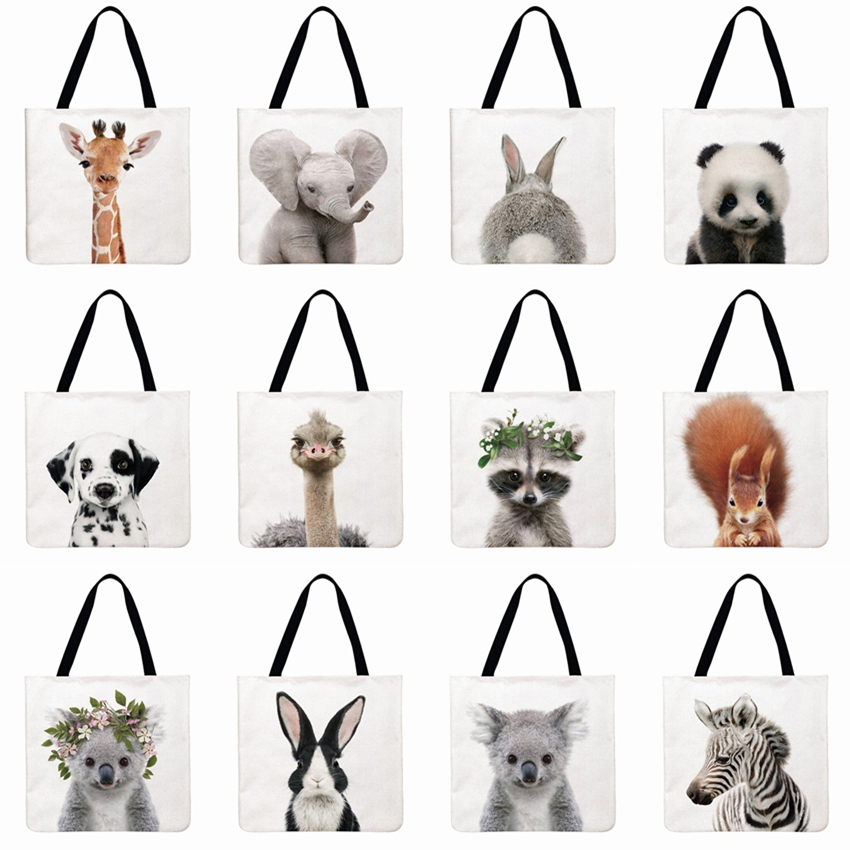 Women Shoulder Bag Cute Animal With Flower Printing Tote Bag Linen Febric Casual Tote Reusable Shopping Bag Foldable Beach Bag