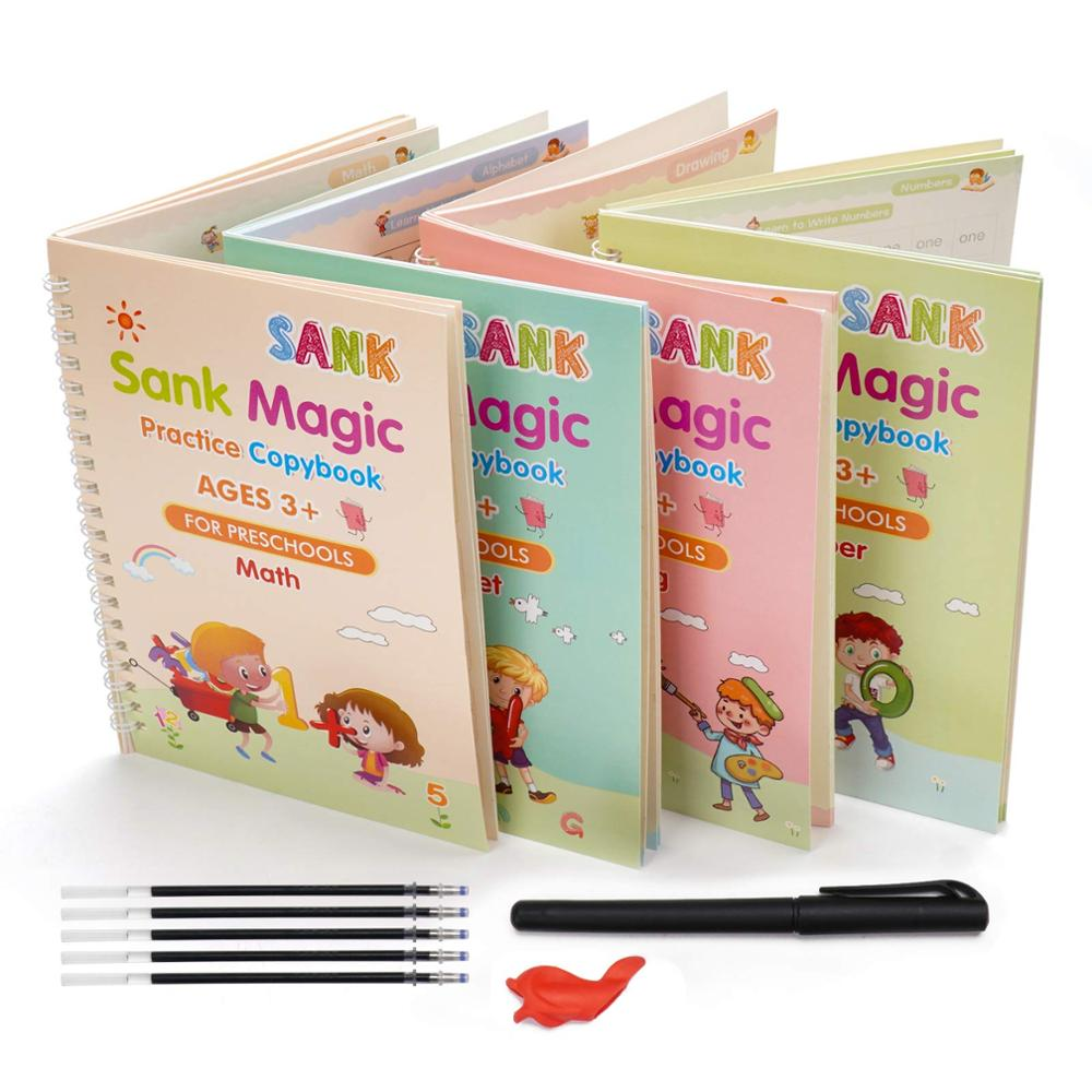 SHOKUTO 4Pcs Magic Practice Copybook with Pen Math Addition and Subtraction Reusable Handwriting Tracing Copybook for Ages 2-8 Year Kids English Alphabet Letter Exercises Drawing Numbers