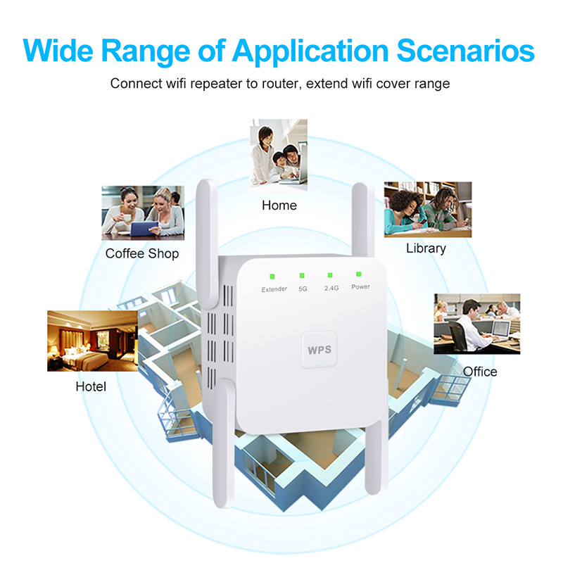 5Ghz Wireless WiFi Repeater 1200Mbps Router Wifi Booster 2.4G Wifi Long Range Extender 5G Wi-Fi Signal Amplifier Repeater Wifi 3