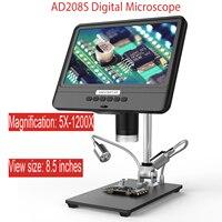 Microscopio Electrónico AD208S 5X-1200X, cámara Digital para lupa para soldadura, ajustable, 1080P, con 10 luces LED