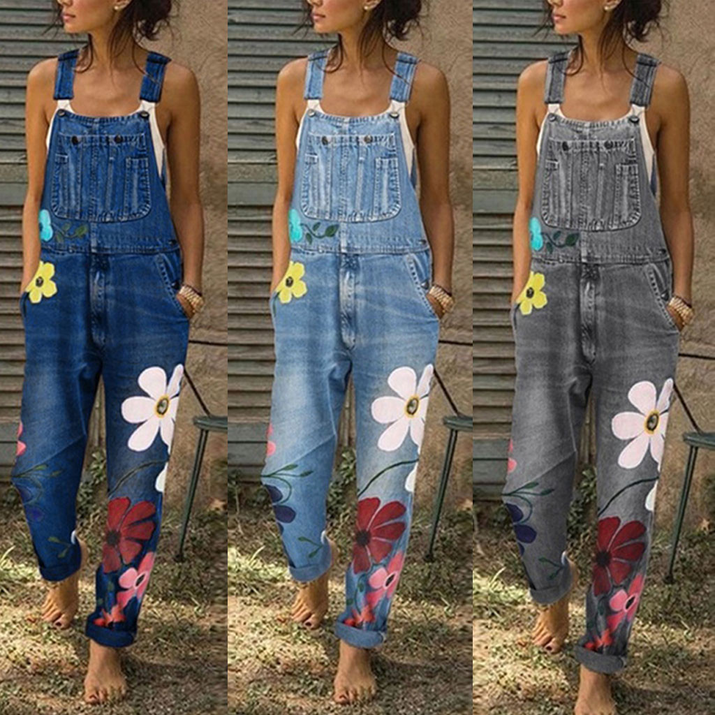 Bib Pants Jumpsuits Flower Printed Blue  Jeans Romper For Women's Fashion Denim Bib Pants Sexy Long Rompers Overalls 2020 New