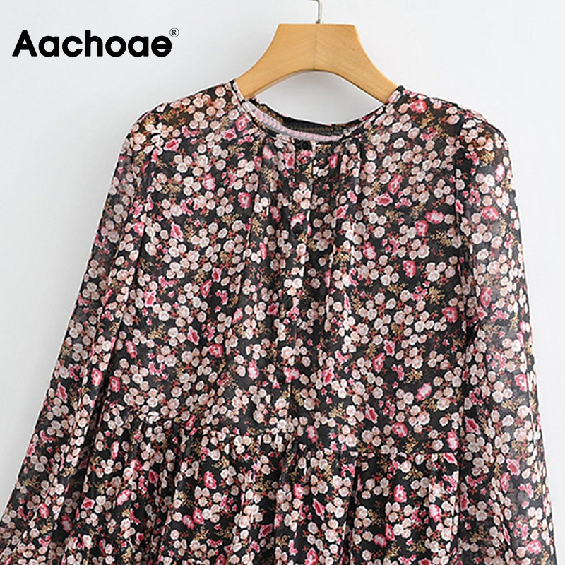 Aachoae Boho Style Floral Print Pleated Dress Long Sleeve Women Mini Dress O Neck Loose Ladies Dresses Beach Sundress Ropa Mujer