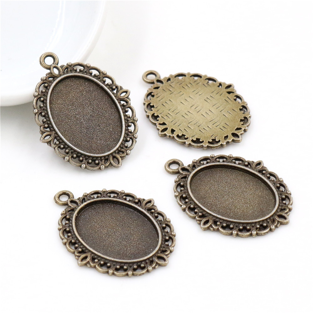 8pcs 13x18mm Inner Size Bronze Simple Style Cameo Cabochon Base Setting Charms Pendant Necklace Findings  (D4-02)