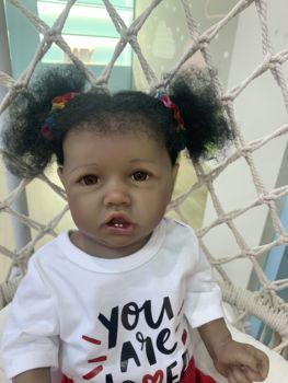 55CM new black skin saskia with teeth reborn todderl girl baby doll lifelike real touch