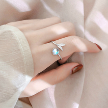 Wholesale Silver Female Mermaid Tail Adjustable Finger Rings 925 Sea Whale Fish for Women Fashion Jewelry