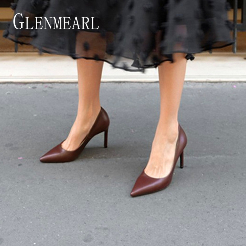 Women High Heels Shoes Brand Female Pumps  Office Ladies Working Shoes Solid Pointed Toe Dress Shoes Spring Autumn Plus Size DE