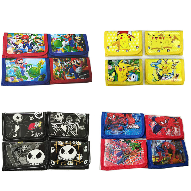 12Pcs Pokemon Mario Coin Purse Cute Kids Cartoon Wallet Bag Pouch Children Purse Small Wallet Party Gift