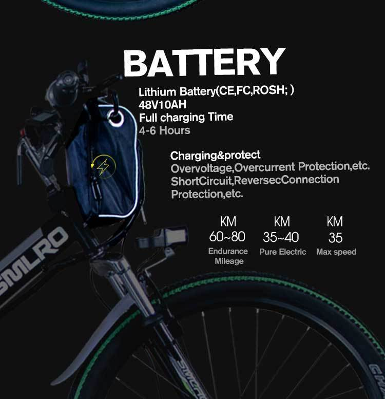 MX300 SMLRO 21 speed high quality electric bike/electric bicycle Carbon Steel 350W 48V e bike 7