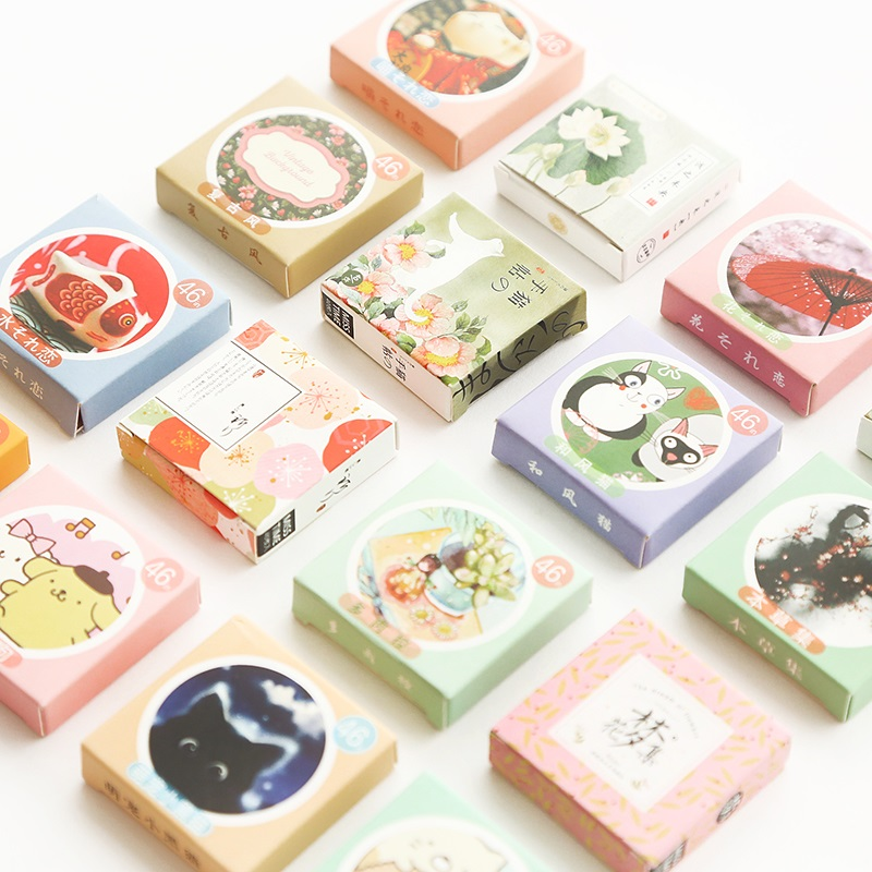 46 Pcs/Box Cute Lotkawaii Mini Paper Adhesive Stickers Decoration Diy Diary Scrapbooking Seal Sticker Stationery School Supplies
