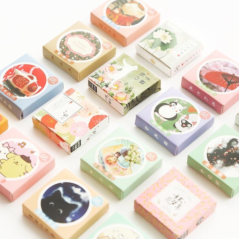 46 Pcs/Box Cute Lotkawaii Mini Paper Adhesive Stickers Decoration Diy Diary Scrapbooking Seal Sticker Stationery School Supplies
