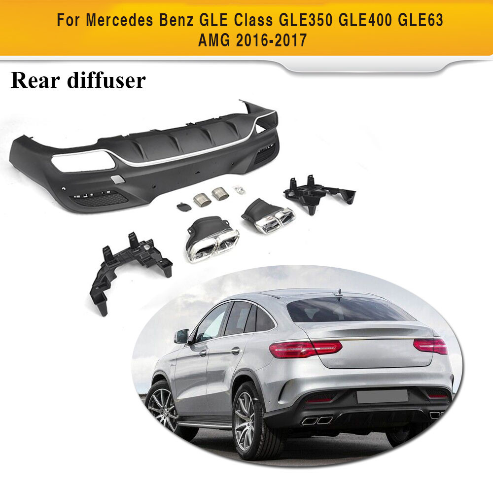 PP Car Rear Diffuser With Exhaust Muffler For Mercedes Benz GLE Class GLE350 GLE400 GLE63 AMG 2016 2017|Bumpers| |  - title=