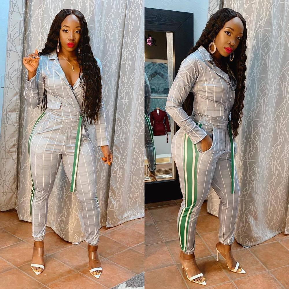 2020 new summer women's work clothes two piece sets casual stripes long sleeve suit professional suits ins fashion explosion