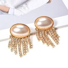 Wholesale ZA Hot Styles Pearl Jewelry Drop Earrings High Quality Crystal Chain Tassel Earrings Pendientes Bijoux For Women fake pearl chain tassel drop earrings