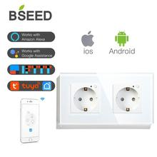 BSEED Wifi Double Socket EU Standard Wall Socket 16A 110V 250V White Black Gloden Crystal Glass Panel For Smart Home