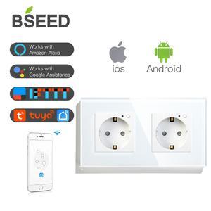 Image 1 - BSEED Wifi Double Socket EU Standard Wall Socket 16A 110V 250V White Black Gloden Crystal Glass Panel For Smart Home