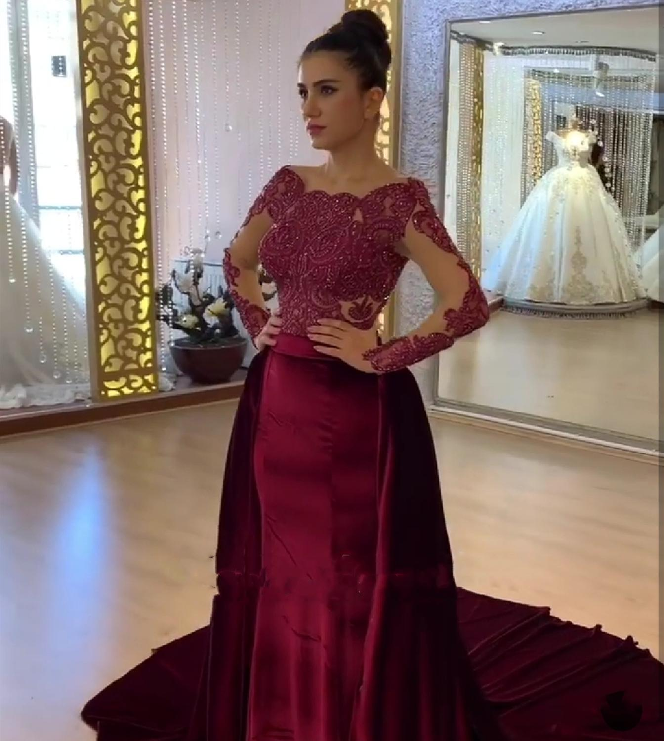Dress Evening  2019 Mermaid Formal Party Dress For Women Lace Long Sleeve Special Occasion Gown Turkey  Elegant Corporate Dress